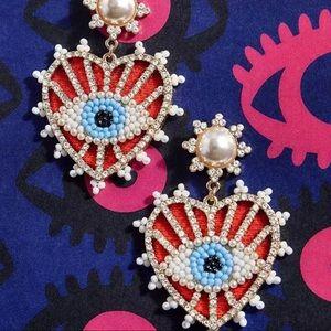Evil eye heart earrings